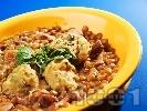 Рецепта Гъста яхния от леща със спаначени кюфтенца (кнедли)